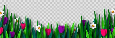 Vector spring flower border with tulips and narcissus, isolated on transparent background. Paper cut style. Decorative frame for Womens, Mothers Days, spring or summer seasonal holidays. 向量圖像