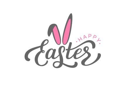 Vector handwritten Happy Easter lettering text with cute bunny ears. Isolated on white background. 版權商用圖片 - 138506557