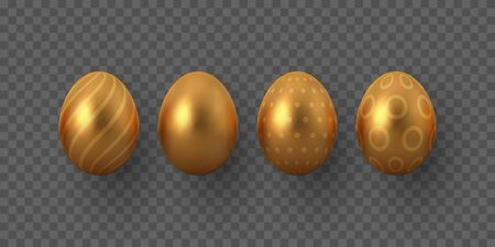 Vector golden Easter eggs with geometric pattern. Realistic metallic decorative elements for Easter holidays. Isolated on transparent background.
