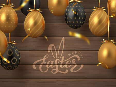 Happy Easter banner with hanging golden metal and black eggs, serpentine and hand written lettering text. Wooden texture background. Vector realistic. 向量圖像