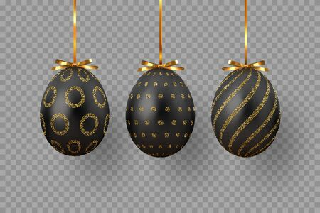 Vector hanging black Easter eggs with glitter geometric pattern. Realistic decorative elements for Easter holidays. Isolated on transparent background.