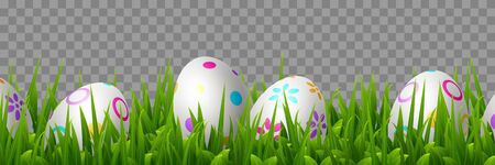 Vector Easter eggs in green grass. Realistic border for Easter holidays. Isolated on transparent background. 向量圖像