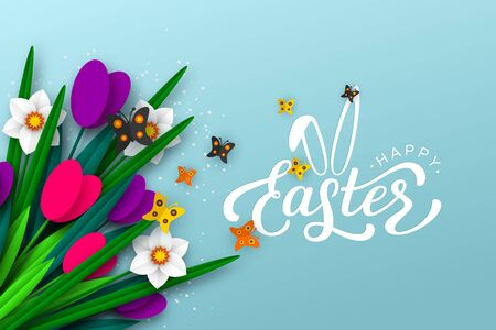 Happy Easter background with paper cut spring flowers tulip and narcissus, butterfly, hand written lettering text. Turquoise floral background. Vector.