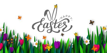 Happy Easter background with paper cut spring flowers tulip and narcissus, butterfly, hand written calligraphy. Spring flower border. Vector.