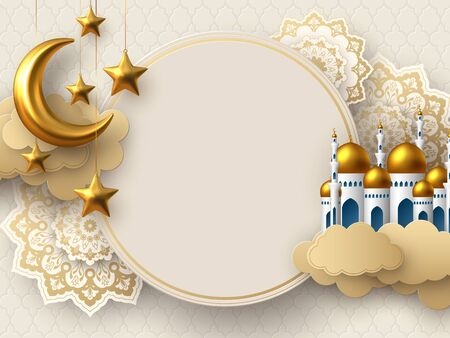 Ramadan Kareem vector card with 3d golden metal crescent, stars, paper cut clouds, mosque and flowers. Copy space. Vettoriali
