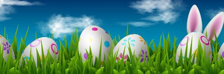 Vector Easter banner with painted eggs, green grass and cute rabbit ears. Sky with clouds background, copy space. Spring holiday design. Иллюстрация