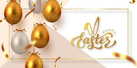 Happy Easter banner with hanging golden metal and white eggs, serpentine and hand written lettering text. Glitter frame. Vector realistic. Ilustrace