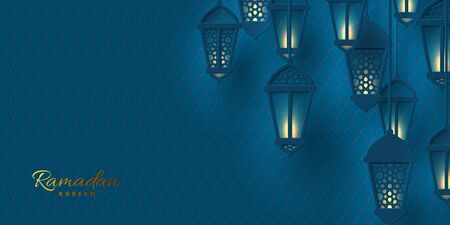 Vector illustration of Ramadan lanterns in paper cut style with glowing lights. Dark blue islamic traditional background.