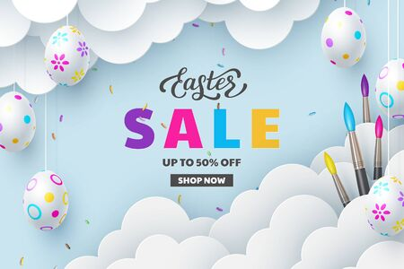 Easter Sale banner with painted hanging eggs, brushes, paper cut clouds and hand written lettering. Discount promotion seasonal design . Vector realistic.