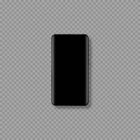 Realistic 3d mobile smartphone mockup. Phone template with black display. Isolated on transparent background. Vector illustration.
