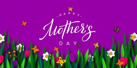 Happy Mothers day poster. 3d paper cut bouquet of spring flowers tulip and narcissus with butterfly, purple background. Handwritten calligraphy. Vector illustration.