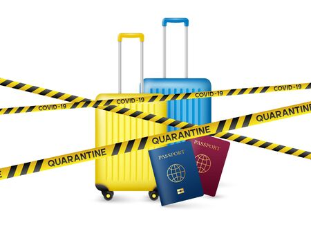 Warning coronavirus quarantine concept. Covid-19, MERS-Cov. Travels, flights and movements ban. Yellow and black stripes with passports and luggage bags on white. Quarantine biohazard sign. Vector.