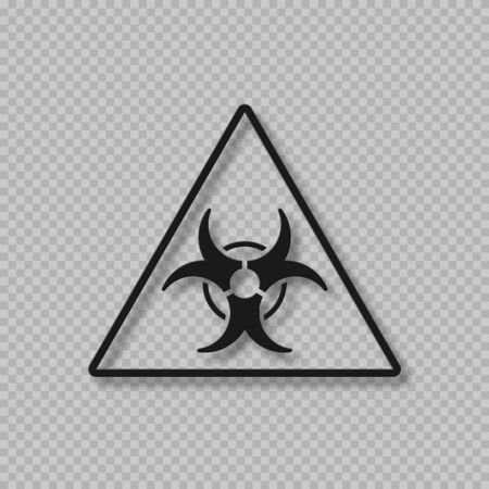 Vector biohazard warning symbol. Biological threat alert sign. 3d style isolated on transparent background.