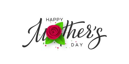 Happy Mothers day typography design. Handwritten calligraphy with 3d paper cut rose and leaves on white background. Vector illustration. Ilustracja