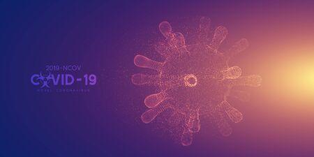 Coronavirus, virus strain of MERS-Cov and Novel coronavirus 2019-nCoV, Covid-19. Vector concept of destroyed 3d dangerous virus, particles explosion effect.