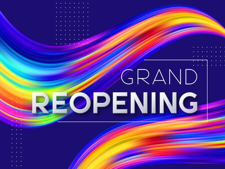 Grand reopening typographic design with 3d text and wave color flow liquid shapes. Opening ceremony vector illustration.