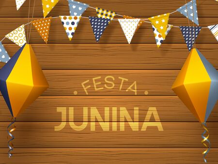 Festa Junina holiday banner. Bunting flags with paper lanterns on wooden background. Festive Brazilian or Latin American greeting illustration. 일러스트