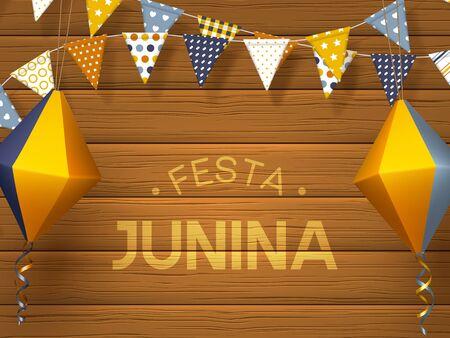 Festa Junina holiday banner. Bunting flags with paper lanterns on wooden background. Festive Brazilian or Latin American greeting illustration. Illusztráció