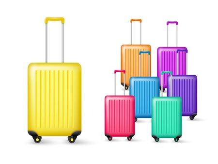 Realistic travel luggage collection. Plastic bag in different colors isolated on white background. Vector illustration. Vektorové ilustrace