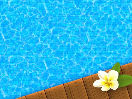 Realistic blue swimming pool with wooden flooring stripes and plumeria flower. Hotel and spa resort vacation summer background. Vector illustration.