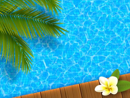 Realistic blue swimming pool with wooden flooring stripes, plumeria flower and palm leaves. Hotel and spa resort vacation summer background. Vector illustration.