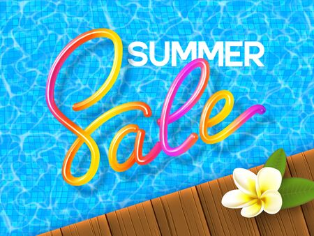 Summer Sale banner with 3d colorful handwritten calligraphy on the swimming pool background, wooden deck and plumeria. Promo design for seasonal discount. Vector illustration.