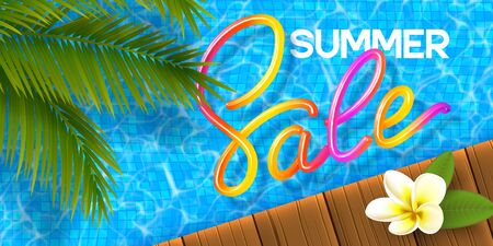 Summer Sale banner with 3d colorful handwritten calligraphy on the swimming pool background, wooden deck, plumeria and palm leaves. Promo design for seasonal discount. Vector illustration. Иллюстрация