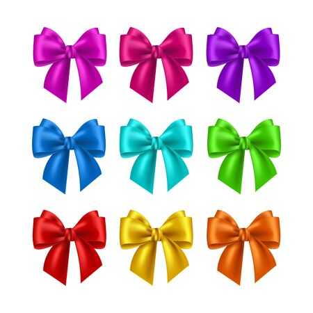 Realistic multicolor bows collection. Element for decoration gifts, greetings, holidays. Vector illustration.