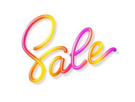 Realistic Sale sign. 3D handwritten calligraphy on white background. Vibrant multicolor Sale label. Promo design for summer seasonal discount. Vector illustration.
