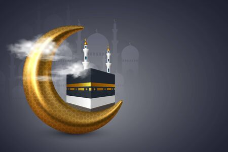 Holy Kaaba with mosque and golden crescent in the clouds. Realistic style, night dark blue background. Design for islamic celebration Hajj or Eid al-Adha with copy space.