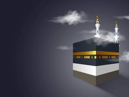 Holy Kaaba with mosque in the clouds. Realistic style, night dark blue background. Design for islamic celebration Hajj or Eid al-Adha with copy space. Ilustracja
