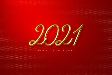 2021 Happy New Year. Hand writing golden metallic numbers 2021. 3d sign on red glitter spotted background. Vector illustration.