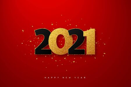 2021 New Year sign. 3d golden glitter with black numbers on red background. Vector illustration.