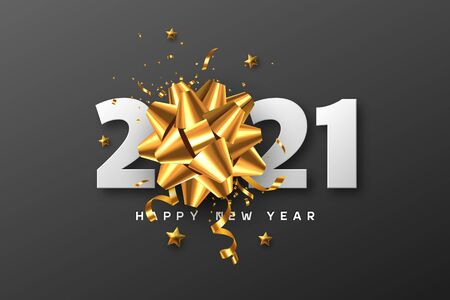 2021 Happy New Year. 3d golden bow with tinsel, stars and white numbers on black background. Vector illustration.