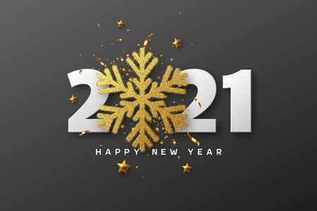 2021 Happy New Year. 3d golden glitter snowflake with tinsel, stars and white numbers on black background. Vector illustration. Ilustracja
