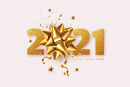 2021 Happy New Year. 3d golden bow with tinsel, stars and glitter numbers on white background. Vector illustration. Ilustracja