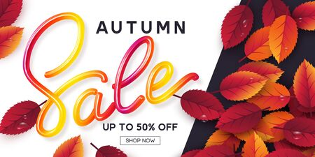 Autumn sale banner with leaves and colorful handwritten 3d calligraphic sign. Seasonal shopping promotion. Vector illustration.