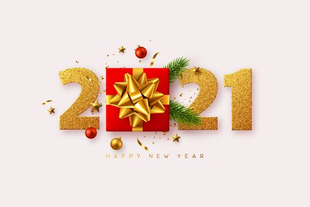2021 Happy New Year. Realistic gift box with decorative elements and glitter numbers on white background. Vector illustration.