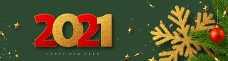 2021 Happy New Year banner. Glitter golden snowflake with tinsel, pine branches, red bauble and glitter numbers on green background. Vector illustration. Ilustracja
