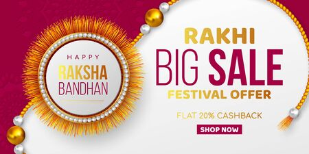 Raksha Bandhan sale promotion banner decorated rakhi. Rakhi festival discount offer. Vector illustration.