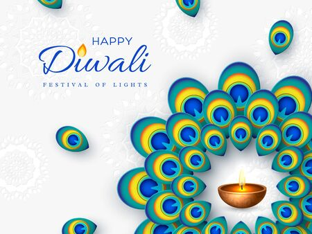 Diwali festival holiday design with paper cut style of peacock feather and diya - oil lamp. Round frame on white background. Vector illustration. Ilustracja
