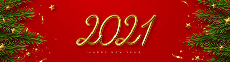 2021 Happy New Year banner. Hand writing golden metallic numbers 2021 with tinsel, pine branches and stars on red background. Vector illustration.