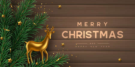 Christmas horizontal banner with realistic gold metal deer, pine branches and stars. Wooden background. New Year vector illustration.