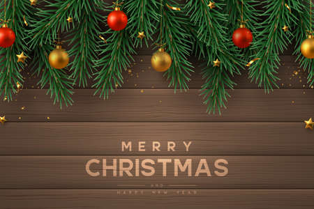 Merry Christmas banner with realistic gold and red ball, pine branches and stars. Wooden background. New Year vector illustration. Ilustracja