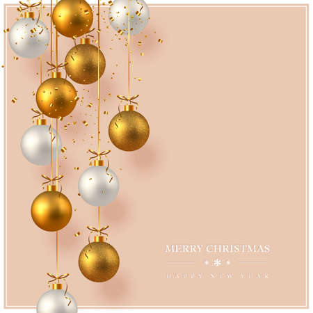Merry Christmas card with realistic golden and white hanging baubles, gold tinsel. Beige background. New Year vector illustration.