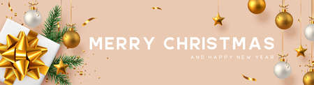 Christmas horizontal banner with realistic gift box, baubles, pine branches and gold tinsel. Beige background. New Year vector illustration.