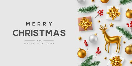 Christmas horizontal banner with realistic gift box, baubles, pine branches, holly berries and gold decorative deer. White background. New Year vector illustration.