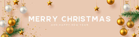 Christmas horizontal banner with realistic golden and white hanging baubles, metal stars, pine branches and gold tinsel. Beige background. New Year vector illustration. Ilustracja