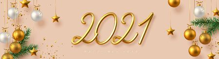 2021 Happy New Year banner. Hand writing golden metallic numbers 2021 with tinsel, pine branches and hanging ball on beige background. Vector illustration. Ilustracja
