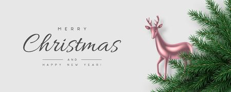 Christmas horizontal banner with realistic pine branches and decorative deer. White background. New Year vector illustration.